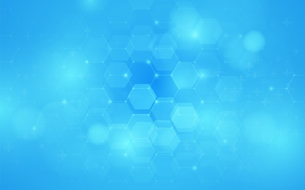 Abstract blue hexagon geometric design background. futuristic technology with healthcare concept. vector illustration