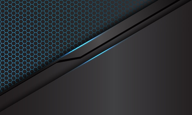 Abstract blue hexagon mesh grey metallic black line polygon blank space futuristic technology.