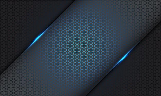 灰色の現代の未来的な技術の背景に灰色の抽象的な青い六角形のメッシュパターンライトスラッシュ