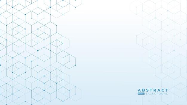 흰색 바탕에 추상 파란색 육각형 패턴 디자인