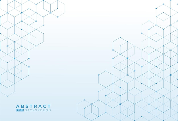 Abstract blue hexagon pattern design on white background