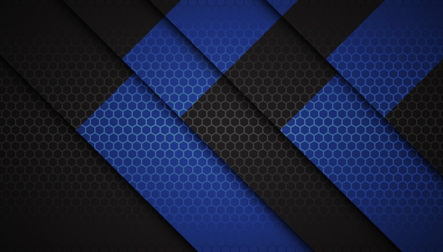 Abstract blue hexagon shapes on dark background