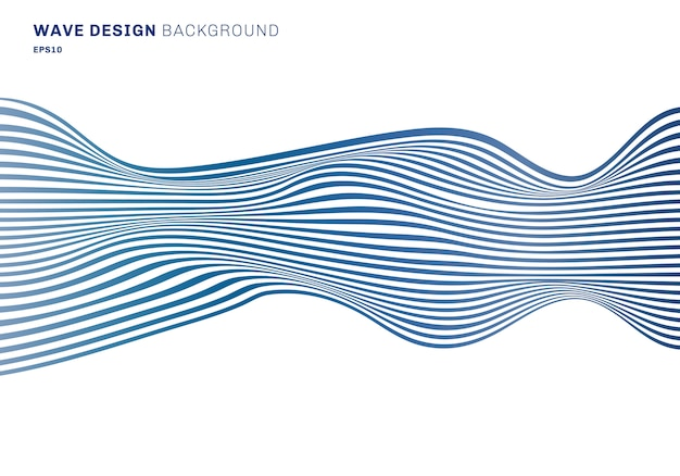 Abstract blue horizontal lines wave