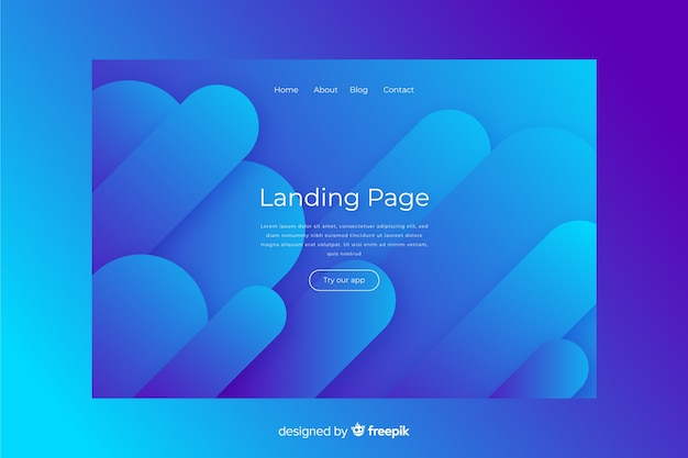 Abstract blue landing page