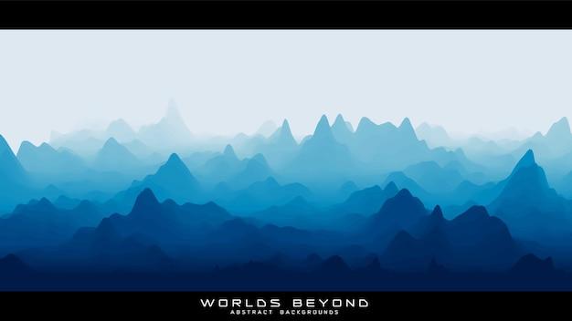 Paesaggio blu astratto con nebbia nebbiosa fino all'orizzonte su pendii montani.