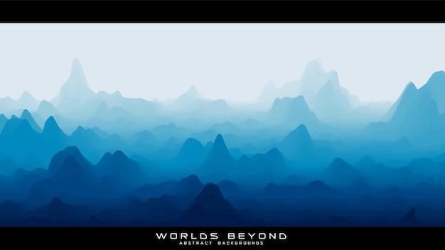 Paesaggio blu astratto con nebbia nebbiosa fino all'orizzonte su pendii montani