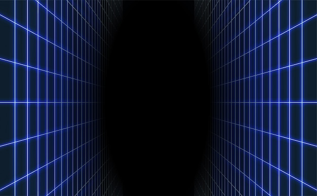 Abstract blue laser grid background. retro futuristic.