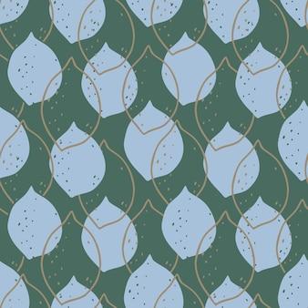 Абстрактный синий лимон бесшовные модели на приглушенном зеленом фоне.