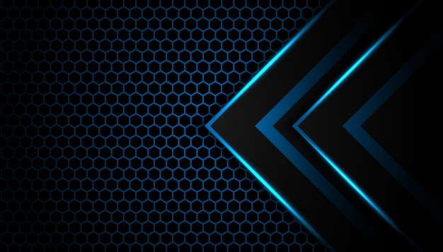 Abstract blue light arrow on black with hexagon luxury futuristic technology background