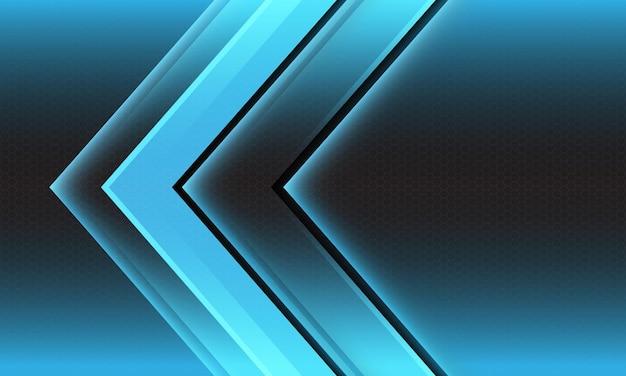 Abstract blue light arrow direction geometric hexagon mesh design modern futuristic background