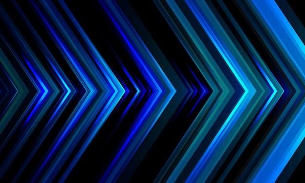 黒のデザインの未来的な技術の背景に抽象的な青い光矢印方向パターン