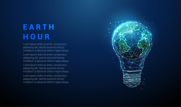 内部に惑星地球を持つ抽象的な青い電球。アースアワーエコロジーコンセプト。低ポリスタイルのデザイン。幾何学的な背景。ワイヤーフレームライト接続構造。