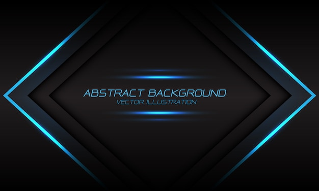 Abstract blue light flame arrow banner on dark grey futuristic background.