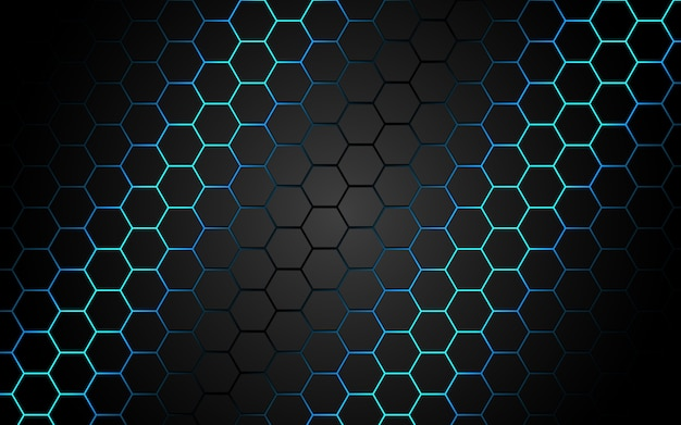 Abstract blue light hexagon line in grey modern luxury futuristic.