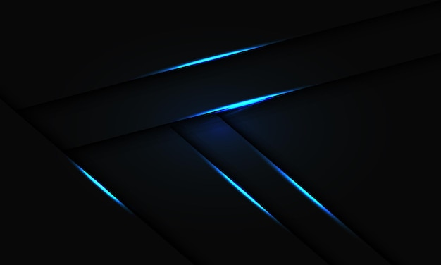 黒のデザインの現代の未来的な技術の背景に抽象的な青い光の線の影のオーバーラップ。