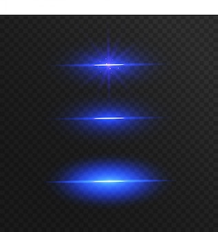 Abstract blue light lines isolated on transparent background