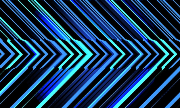 Abstract blue light neon circuit cyber arrow direction on black modern futuristic technology background