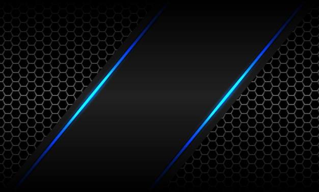 Abstract blue light neon grey metallic hexagon mesh luxury futuristic technology vector background