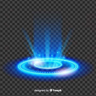 Abstract blue light portal effect