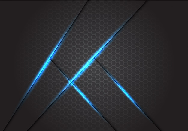 Abstract blue light shadow lines on dark grey hexagon mesh background.
