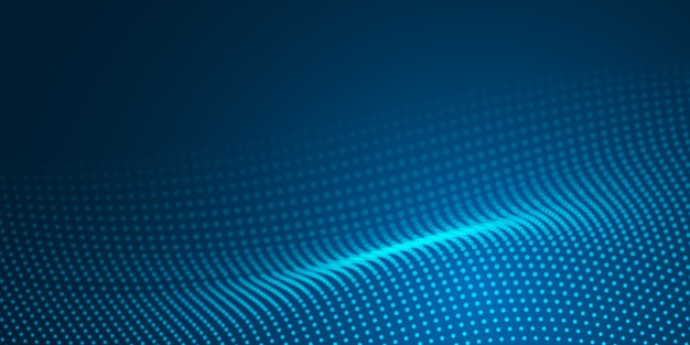 Abstract blue light wave dot surface pattern on dark background.