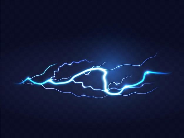 黒の背景に抽象的な青い稲妻。ブリッツライトニングサンダーライトスパークストームフラッシュサンダーストーム。パワーエネルギーチャージでんきショック