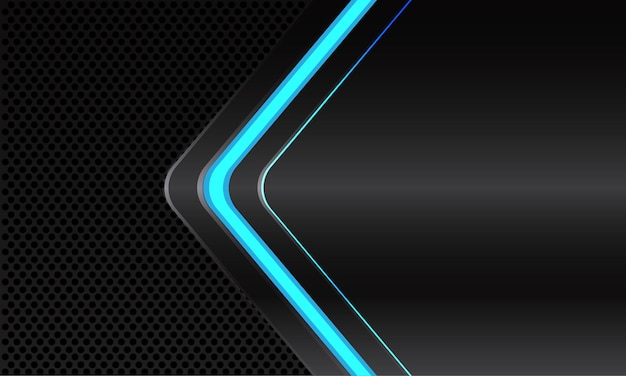 Abstract blue line light neon arrow direction on dark grey metallic with black circle design