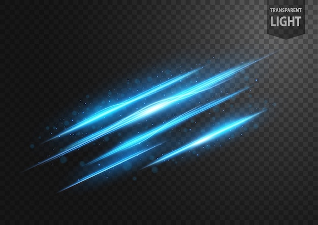 Abstract blue line of light with blue sparks