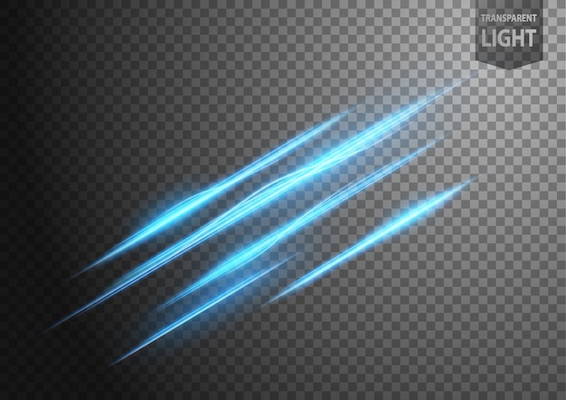 Abstract blue line of light with a transparent background