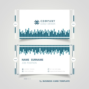 Abstract blue line tech business card template