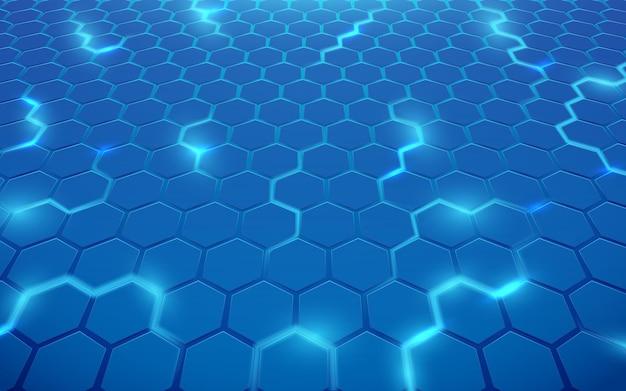 抽象的な青い線六角形の幾何学的なデザインの背景。未来の技術コンセプト。ベクトルイラスト