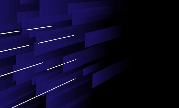 暗い背景に白い光の線と抽象的な青い線の遠近法