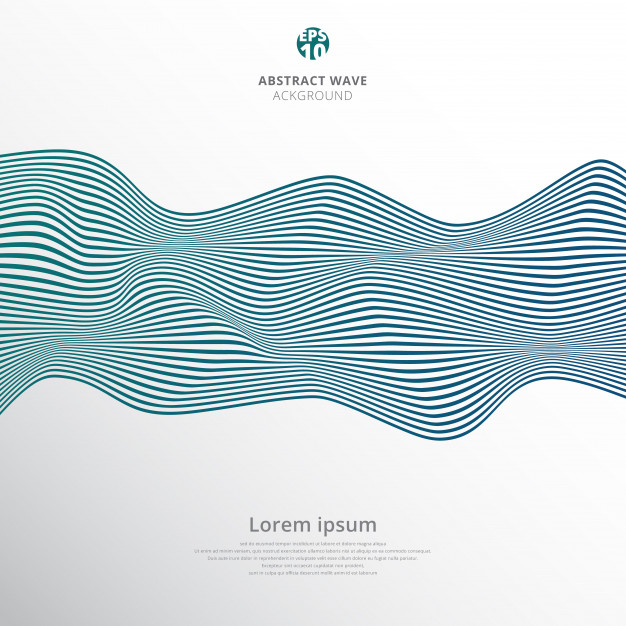 Abstract blue lines wave pattern white background.
