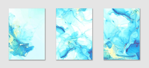 Abstract blue liquid alcohol ink and watercolor background with golden stains