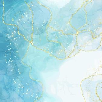 Абстрактный синий жидкий акварельный фон с золотыми крекерами.