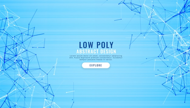 Abstract blue low poly lines digital background
