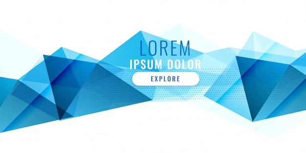 Abstract blue low poy triangle banner design