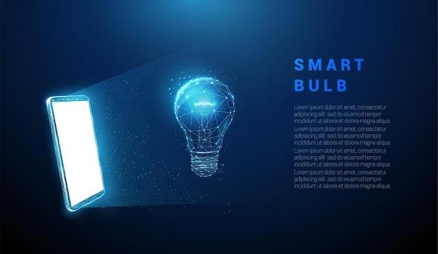 抽象的な青い携帯電話、白い画面、ホログラム電球。低ポリスタイルのデザイン。