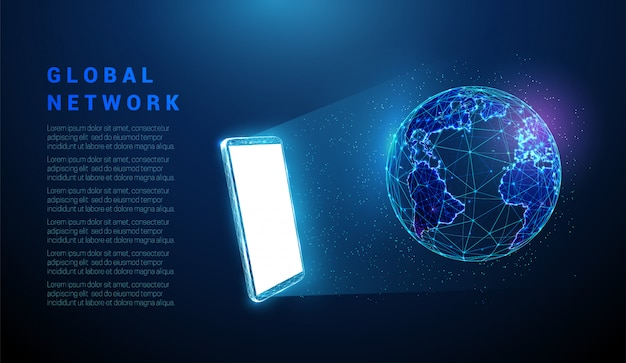 Abstract blue mobile phone, white screen, hologram planet earth. low poly style design. geometric background wireframe light connection structure modern  graphic concept isolated  illustration