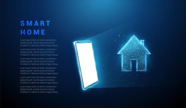 家のアイコンと抽象的な青い携帯電話。