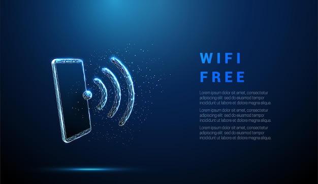 無線lanのシンボルが付いている抽象的な青い携帯電話インターネットアクセスの概念低ポリスタイルのデザイン幾何学的な背景ワイヤーフレームライト接続構造