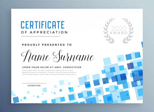 Abstract blue mosaic style certificate template