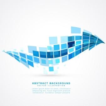 抽象的なブルーモザイク波背景