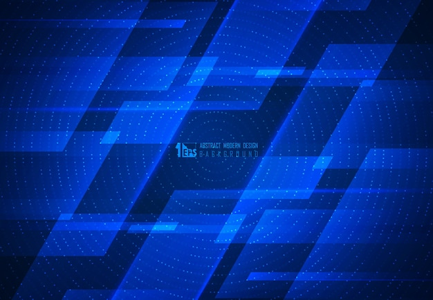 Abstract blue motion technology design of futuristic geometric pattern artwork background.