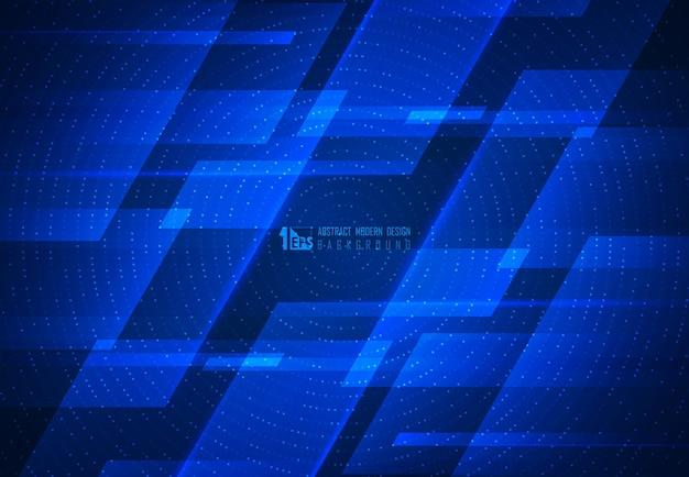 未来的な幾何学模様のアートワークの背景の抽象的な青いモーション技術デザイン。