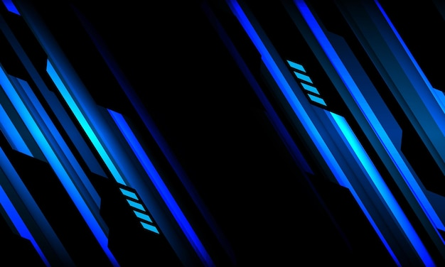 Abstract blue neon black cyber geometric slash design modern futuristic technology background
