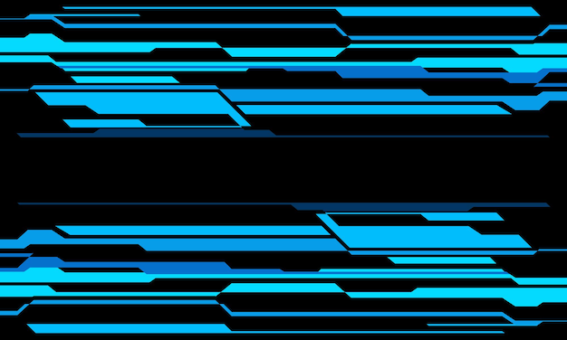 Abstract blue neon cyber geometric technology on black design modern futuristic background vector