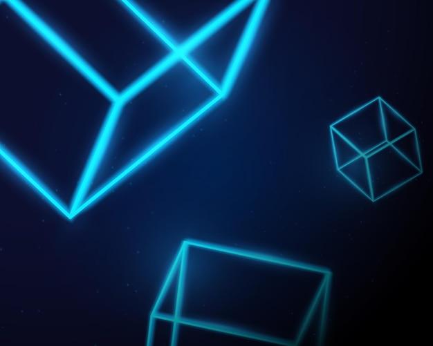 暗い背景に抽象的な青いネオンライト3dボックスの形。ベクトルイラスト