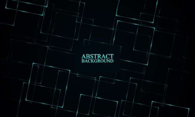 Abstract blue neon rectangles background vector illustration