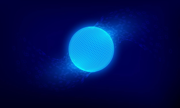 抽象的な青いネットワーク球。サイエンスフィクション技術の背景。デジタルサイバースペースの惑星表面。ベクトルイラスト